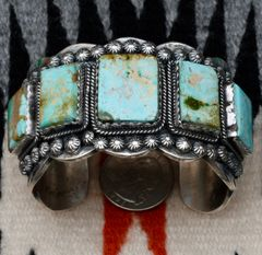 Custom Navajo Sterling cuff with five rectangular Royston turquoise stones, by Gilbert Tom.
