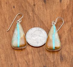 Navajo Sterling earrings with boulder (ribbon) turquoise by Jimmie Frank
