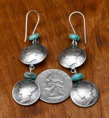 James McCabe winged liberty head dime earrings!