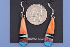 Zuni Pueblo inlaid mosaic earrings with spiney oyster shell.