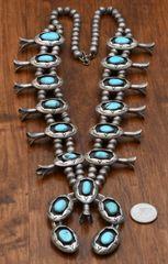 Old-pawn Navajo shadow box squash blossom necklace