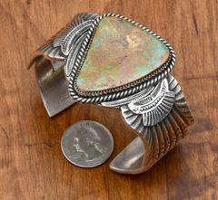 Man's handsome heavy-silver Navajo Sterling cuff by Garret Hale.