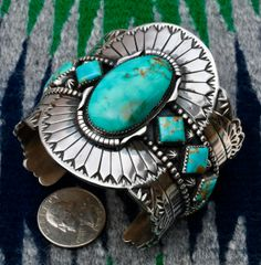 Drop-dead gorgeous Navajo Sterling Cuff with Royston turquoise, by Marcus Chavez.