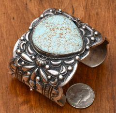 Single-stone Navajo cuff with No. 8 mine turquoise by Gilbert Tom.