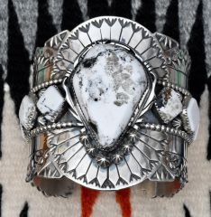 Trophy Sterling Navajo cuff with white buffalo stones by Marcus Chavez