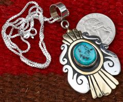 Original, signed Tommy Singer Sterling and gold-fill pendant with Sleeping Beauty turquoise.—SOLD!