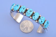 Dead-pawn Navajo heavy-silver Sterling cuff with real Sleeping Beauty mine turquoise.