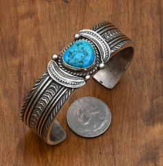Dead-pawn Navajo Sterling cuff with Sleeping Beauty turquoise by Eugene Hale