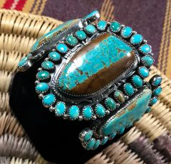 "Elaborate Sterling Navajo cluster cuff with the ""new"" No. 8 Mine turquoise by Marcus Chavez.—SOLD!"