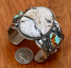 Custom-made Navajo Sterling cuff with hand-picked White Buffalo and Royston turquoise, by Gilbert Tom.