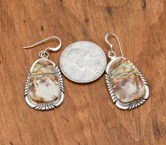 Colorful Navajo Sterling earrings with boulder (ribbon) turquoise by Elouise Kee.