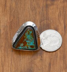 Heavy-silver dead-pawn Navajo Ring with Royston turquoise