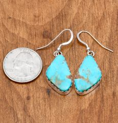 Sterling Navajo earrings with Kingman, Arizona turquoise by Elouise Kee.