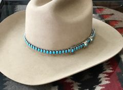 "Navajo adjustable Sterling silver hat band with 87 Kingman, Arizona real (not ""block"") turquoise oval stones, by James Freeland.—SOLD!"