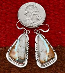 Boulder/ribbon Sterling Navajo earrings by Elouise Kee.