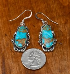 Navajo Sterling and Kingman turquoise earrings by Elouise Kee.