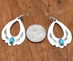 Larger Navajo Sterling earrings with turquoise by Isabelle Kee
