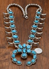 Navajo dead-pawn squash blossom necklace with Sleeping Beauty turquoise.—SOLD!