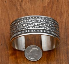 Heavily-stamped, thick gauge Navajo cuff by Leonard Maloney.