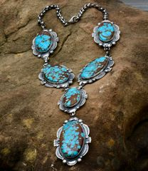 "Navajo custom-made six-pendant Sterling necklace with the ""new"" No. 8 Mine turquoise, by Gilbert Tom.—SOLD!"