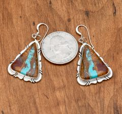 The most beautiful boulder (ribbon) turquoise earrings ever—maybe. By Elouise Kee, Navajo.