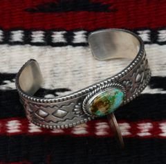Sterling Navajo cuff with Royston, Nevada turquoise by Jeff James Jr..