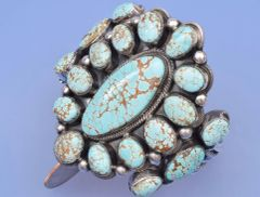 Nineteen-stone Navajo cluster cuff masterpiece with No. 8 mine turquoise by Leon Martinez