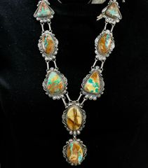 Custom-made Sterling Navajo pendant necklace set with boulder/ribbon turquoise, by Robert Shakey—SOLD!