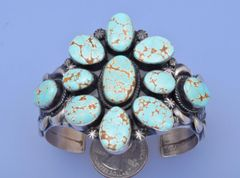 No. 8 Turquoise mine Sterling cluster cuff by Gilbert Tom, Navajo