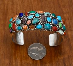 Navajo 32-stone Sterling cluster cuff by Emer Thompson.
