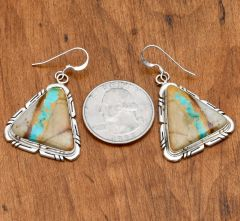 Triangular-shaped Navajo Sterling earrings with boulder (ribbon) turquoise by Elouise Kee.