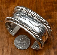 Medium size woman's all-Sterling Navajo cuff by Verna Tahe.