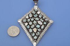 Very large Navajo 23-stone Dry Creek turquoise pendant