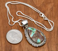Navajo Sterling pendant with Royston turquoise by Alfred Martinez.