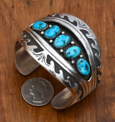 Dead-pawn shadow box cuff with Sleeping Beauty turquoise.