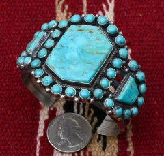 Navajo Sterling cluster cuff with 39 Kingman, Arizona turquoise stones, by Anthony Skeets.