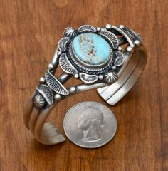 Navajo old-style patina Sterling cuff with Dry Creek turquoise.