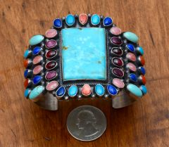 Colorful Navajo Sterling cluster-cuff by Anthony Skeets.—SOLD!