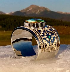 Sterling silver cuff with Royston turquoise by award-winning Navajo silversmith Vernon Hoskie—SOLD!