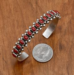 Navajo dead-pawn Sterling cuff with 15-pieces of Mediterranean blood-red coral.—SOLD!