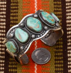 Navajo dead-pawn heavy silver five-stone Royston turquoise by Leslie Nez.
