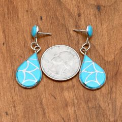Sterling and turquoise-inlay two-piece earrings.