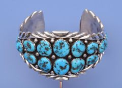 Traditional Navajo cuff with Sleeping Beauty turquoise.