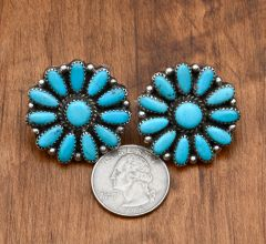Vintage Navajo turquoise cluster earrings.—SOLD!