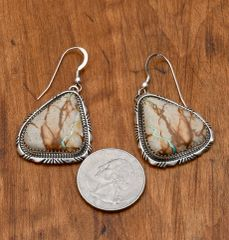 Navajo Sterling earrings with boulder/ribbon turquoise by Elouise Kee