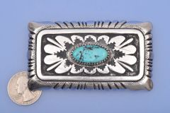 Vintage signed Tommy Singer silver buckle for Display Only—Not For Sale.