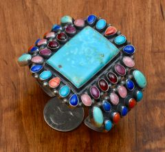 Colorful Navajo Sterling cluster cuff with 45 settings by Anthony Skeets