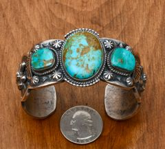 Custom made Navajo thick-gauge Sterling triplet cuff with Royston, NV turquoise by Gilbert Tom.—SALE PENDING