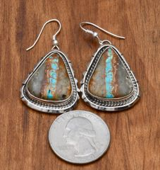 Navajo Sterling earrings with ribbon (boulder) turquoise, by Augustine Largo