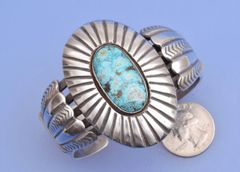Dead-pawn Navajo heavy Sterling cuff with Turquoise Mountain stone